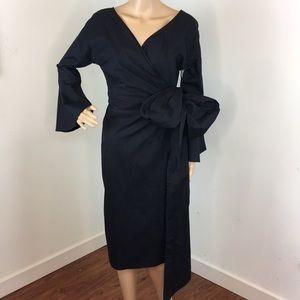WAYF Black Wrap Dress
